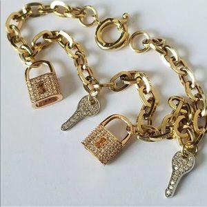 14k Yellow Gold Lock Key Charm Love Bracelet